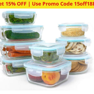 Glass Food Containers 18 Piece Set With Lids - Ships Next Day! Home