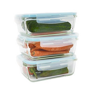 6 Piece Glass Food Container Set w/ Snap on Airtight Lids (28 Oz each) - Ships Next Day!