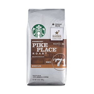Pack of 6: Starbucks Pike Place Medium Roast Whole Bean Coffee, 12oz Bags - Ships Next Day!