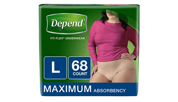 68 Count: Depend FIT-FLEX Incontinence Underwear for Women, Maximum Absorbency, (Bulk Packaging)