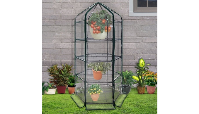 Ultra-Deluxe 4 Tier Hexagonal Flower Planthouse - Ships Next Day!