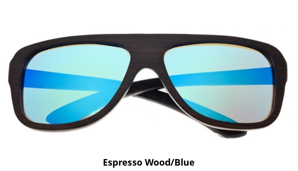 Earth Wood Polarized Aviator Sunglasses - Ships Next Day! Espresso Wood/blue