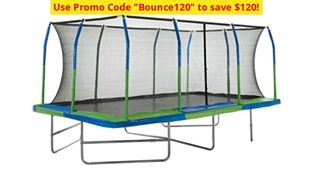 Mega Outdoor Trampoline With Fiber Flex Enclosure System 10 X 17 | Safe & Fun Exercise - Ships Next