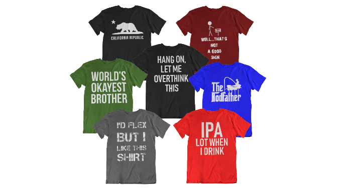 3, 6, or 12 Packs: Assorted Witty Printed T-Shirts - Ships Next Day!
