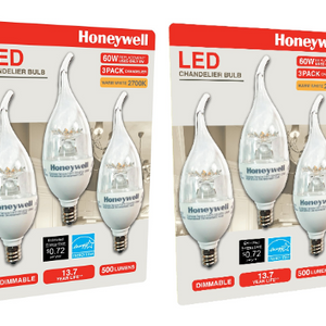 PRICE DROP: 6 Pack: Honeywell B116027HB320 LED Chandelier Dimmable Light Bulbs - 60W Soft White Light - Great For Lower Energy Bills!