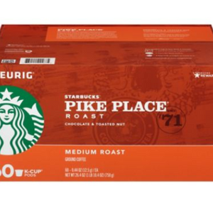 60 Count: Starbucks Pike Place Coffee Keurig K-Cups, Medium Roast - Ships Next Day!