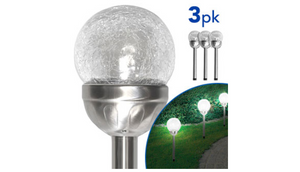 3, 6 or 9 Packs: Solar Crinkled Glass  Stake Lights - Ships Next Day!