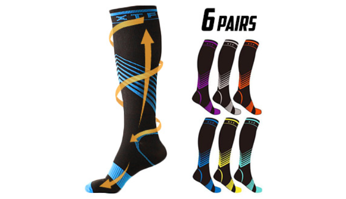 6, 12 or 24 Pairs: Verge Knee-High Sport Compression Socks for Swelling or Bad Blood Circulation