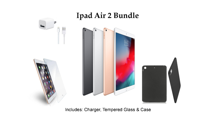 d27acd2f95a Apple iPad Air 2 16GB WiFi + Case + Tempered Glass + Charger Bundle  (Refurbished