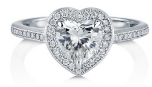 Sterling Silver Heart Cut Engagement Ring - Ships Next Day!
