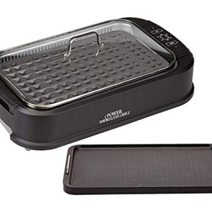 Power Smokeless Grill with Tempered Glass Lid with Interchangeable Griddle Plate and Turbo Speed Smoke Extractor Technology (New Open Box)