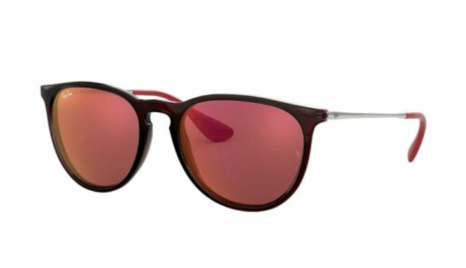 Ray-Ban Erika Color Mix Brown Silver Frame/Dark Red Classic Sunglasses (RB4171 6339D0 54MM)