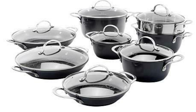 Curtis Stone Dura-Pan Nonstick 15-piece Nesting Cookware Set - NEW OPEN BOX