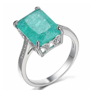 Sterling Silver Plating Created Emerald Cut Gemstone Ring