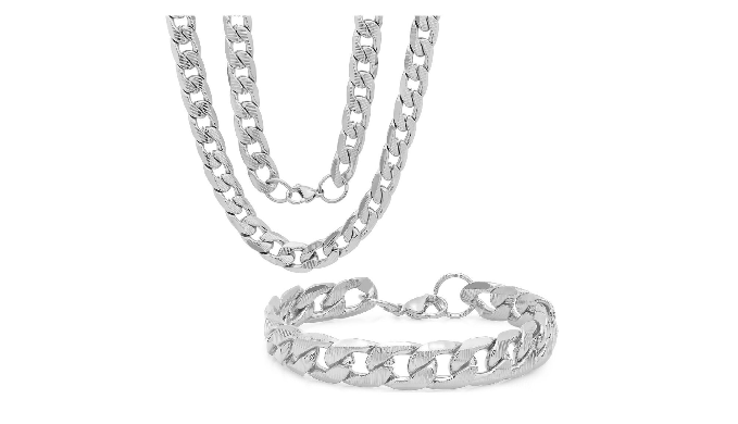 Silver toned bracelet and necklace set