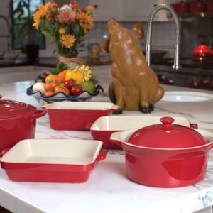 Price Drop: Cuisine & Co 7 Piece Red Artisan Ceramic Stoneware Bundle (2 Casserole, Rectangular, Square, Loaf) - Ships Next Day!