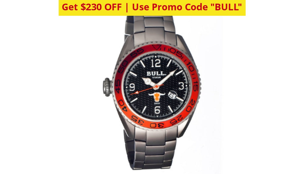 Bull Titanium Hereford Pro-Diver Watch + Free Return Shipping - Ships Quick! Black/silver Watches