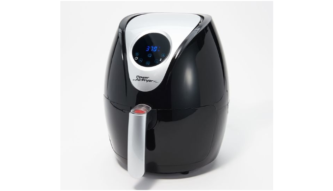Lowest Price Ever: Power Xl 2.4-Qt Digital 1200W Air Fryer With Recipes And Divider (Renewed) Black