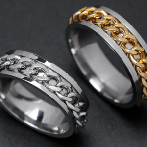 2 Set Stainless Steel Curb Chain Style Ring