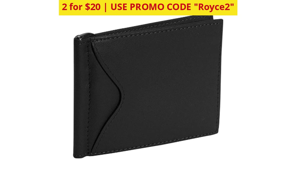 2 For $20: Royce New York Premium Leather Card Case With Money Clip - Ships Quick! Black Home