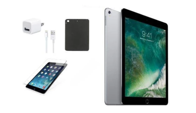Apple iPad Mini 4 with Wi-Fi (16GB Space Gray) with Tempered Glass, Case and Charger