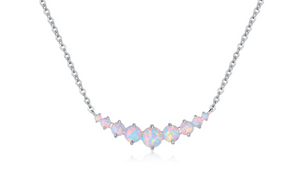 Graduated White Fire Opal Necklace in 18K White Gold Plating