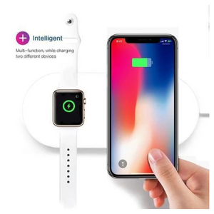 2 in 1 Wireless Charging Pad With Fast Qi Charger + Charger For Apple Watch - Ships Quick!