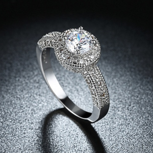1.90 CTTW Single Crystal Multi Pav'e Engagement Ring Set in 18K White Gold