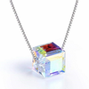 Aurora Borealis Crystal Cube Necklace Made with Swarovski Crystal