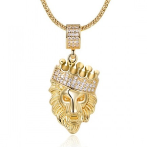 Lion Head Pendant in FoxTail Chain Necklace - 2 Colors