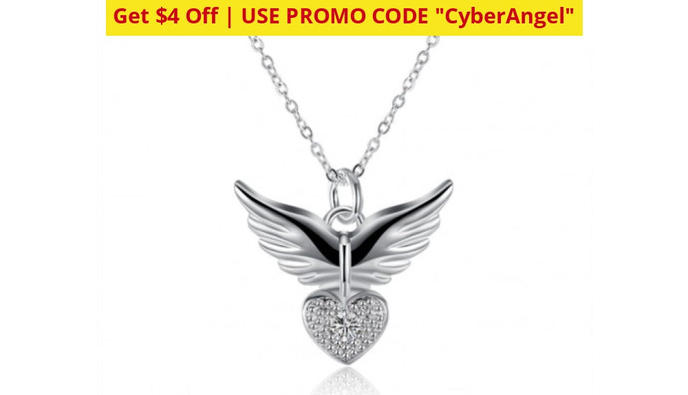 Guardian Angel Necklace In 14K White Gold Selloff