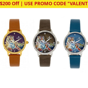 $200 Off + Free Returns: Empress Diana Automatic Engraved Leather Band Watches - Ships Quick!
