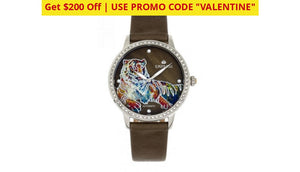 $200 Off + Free Returns: Empress Diana Automatic Engraved Leather Band Watches - Ships Quick! Olive