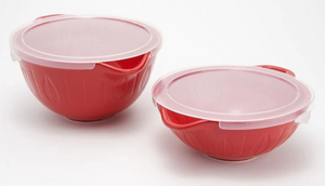 Mad Hungry 2-Piece Lipnloop Mixing Bowl With Lids - Ships Quick! Red Home