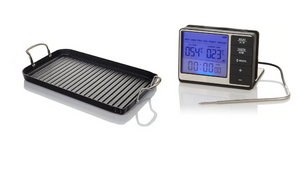 Curtis Stone DuraPan Nonstick Double-Burner Grill Pan + Digital Read Thermometer with Pot Clip Bundle! (Refurbished)