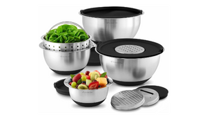 Wolfgang Puck 12 Piece Bistro Elite Stainless Steel Mixing Bowl and Prep Set, Includes Multi-Function Cover with Grating and Slicing Inserts
