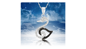 Sterling Silver Black Diamond Accent Swan Pendant with Chain - Guaranteed by Mother's Day* + FREE RETURNS!