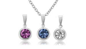 "5mm Pink, Blue, and White Crystal Pendant with 18"" chain - Guaranteed by Mother's Day* + FREE RETURNS!"