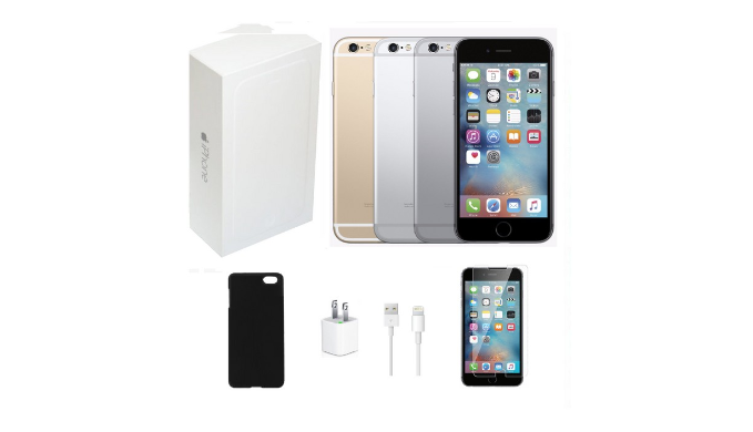 Apple iPhone 6 128GB Unlocked Bundle (Tempered Glass, Charger, Case) - Refurbished