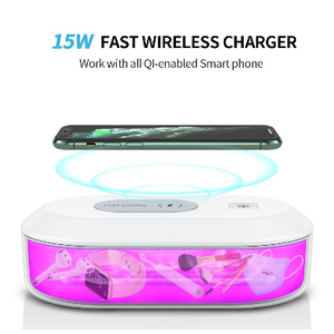 UV Sterilizer Box with 15W Fast Wireless Charging Pad