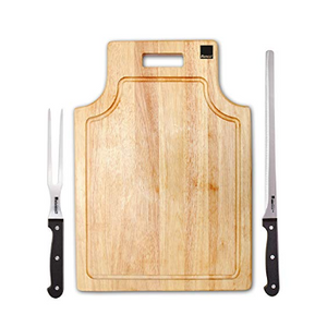 Ronco Carving Board Set With Drip Catch, Stainless Steel Carving Knife & Carving Fork - Ships Quick!