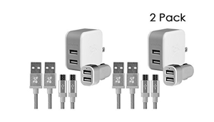 8-Piece: Ubio Labs 4x 6ft Micro USB Woven Cables, 2x Dual Wall, 2x Car Chargers (Bulk Packaging)