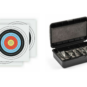 10-Piece Bundle: Mossy Oak Hunting Padded Broadhead Storage Box + 9 Archery & Shooting Ring Targets - Ships Quick!