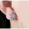 Freshwater Pearl Swarovski Elements Pav'e Starburst Studs in 14K White Gold Plating
