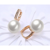 Freshwater Pearl Swarovski Elements Pav'e Earrings in 14K Gold Plating