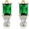 14K Gold Plating Emerald Cut Green Swarovski Elements Twisted Pav'e Lever back Earrings