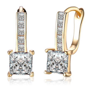 14K Gold Plating White Swarovski Elements Sleek Lever back Earrings