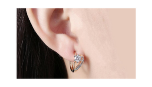 14K Gold Plating White Swarovski Curved Earrings