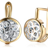 14K Gold Plating White Swarovski Daisy Design Circular Earrings
