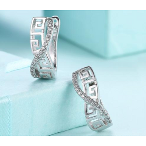 14K White Gold Plated Swarovski Elements Pav'e Greek Key Design Pav'e Curved Hinge Earrings